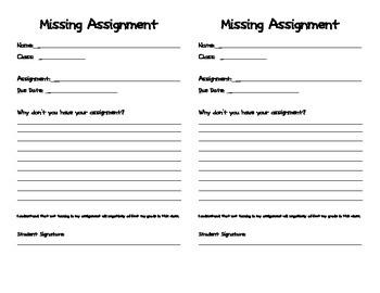 Missing Homework Assignment Slip