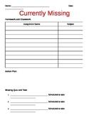 Missing Homework Assignment Tracking Sheet