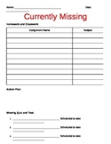 Missing Homework Assignment Tracking Sheet