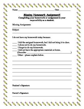 Missing Homework Assignment paper