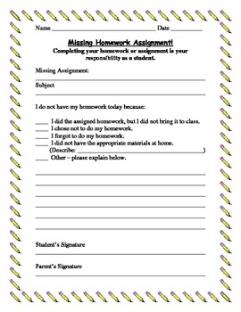 Missing Homework Assignment paper