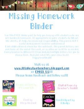 Missing Homework Binder Cover, Forms, and Parent Letter