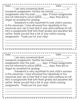 Missing Homework Binder Cover Forms And Parent Letter By
