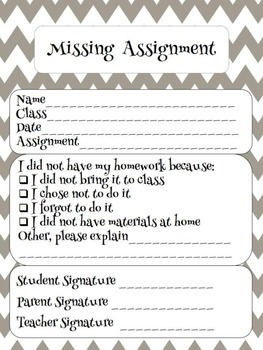 Missing Homework Form by Mrs West Teaches Sped | TpT