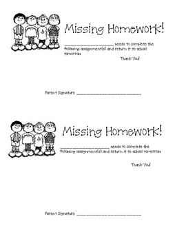 Missing Homework Form by Dawn Rainbowstar | Teachers Pay Teachers