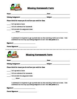 Missing Homework Form and Log