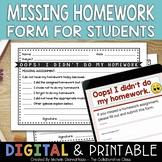 Missing Homework Form for Students