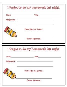 Missing Homework Freebie