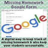 Missing Homework Google Form (Distance Learning)