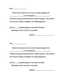 Missing Homework Letter