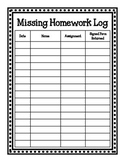 Missing Homework Log and Parent Notice