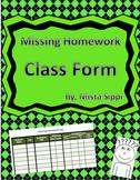 Missing Homework Log Template for Teachers