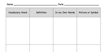 Common Core Vocabulary Chart