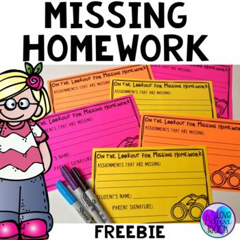 Missing Homework Notes & Tracking Sheet FREEBIE