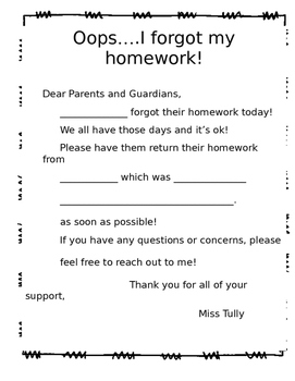 Missing Homework Notice