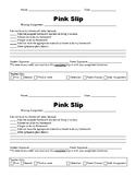 Missing Homework- Pink Slip