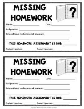 Missing Homework Note with Recording Sheet - Late Homework Note