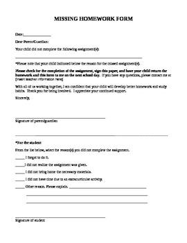 Missing Homework Printable Parent Form