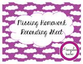 Missing Homework Recording Sheet