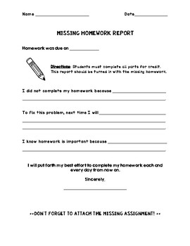 Missing Homework Report/Reflection