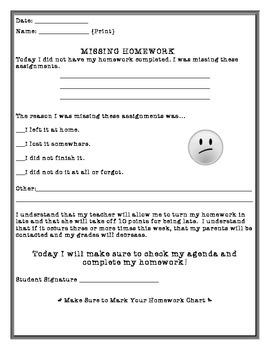 Missing Homework Sheet