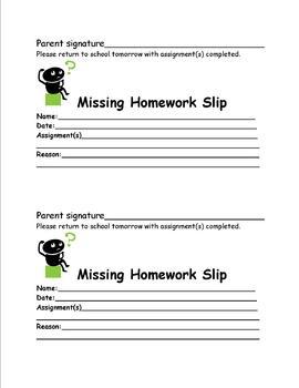 Missing Homework Sign and Return Slip