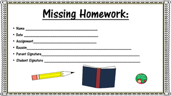 Missing Homework Signature Slip