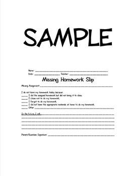 Missing Homework Slips