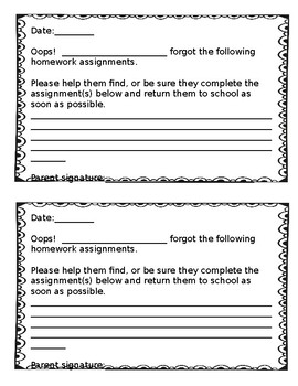 Missing Homework Slips