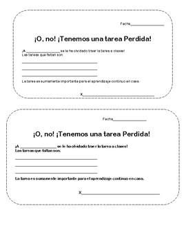 Missing Homework- Spanish Version