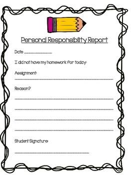 Missing Homework? Student Responsibility Sheet
