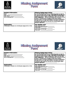 Missing Homework or Assignments Form