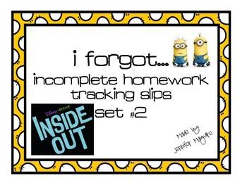 Missing Homework tracking slips - Set #2