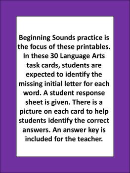 Beginning Letter Task Cards