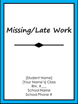missing late work tracker with excuse slips aqua by alyssa stone