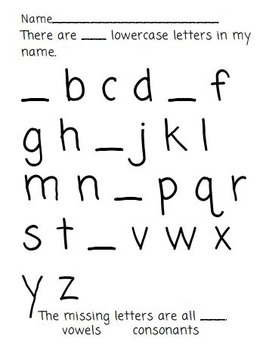 Missing Letter Activities