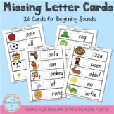 Missing Letter Cards - Beginning Sounds - Australian State