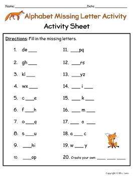 Alphabet Missing Letter Activity