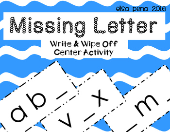 Missing Letter Write and Wipe Off Center Activity Freebie