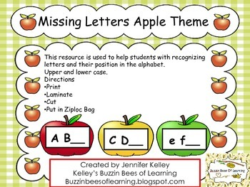 Missing Letters Apple Theme