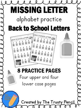 Missing Letters - Back to School Letters