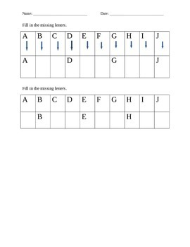 Missing Letters Graphic: Letter Sequencing