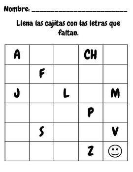 Missing Letters- Spanish