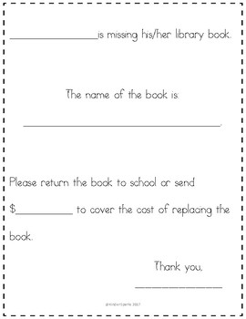 Missing Library Book Letter (To Send Home)
