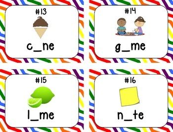 Missing Long Vowel (silent e) Task Cards