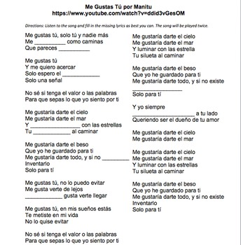 Missing Lyrics Spanish Song Activity