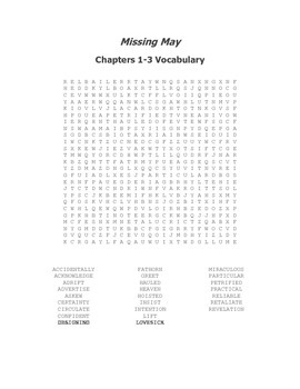Missing May Ch. 1-3 Vocabulary Word Search