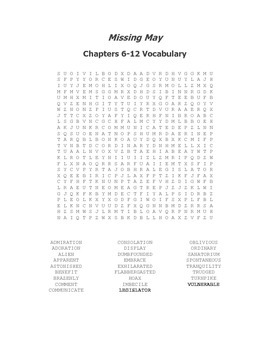 Missing May Ch. 6-12 Vocabulary Word Search