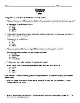 Missing May Common Core Comprehension Test Chapter 8