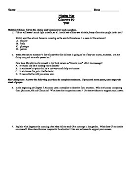 Missing May Common Core Comprehension Test Chapters 6-7